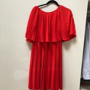 Stunning Kate Spade Pleated Red Cape Dress BNWT